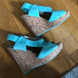 Turquoise Strap Cork Wedges
